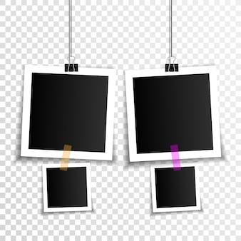 바인더 클립 및 접착 테이프와 빈 사진 프레임 세트