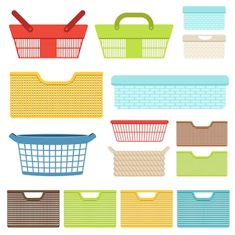 Набор пустых пластиковых контейнеров и корзин для ванной или магазинов