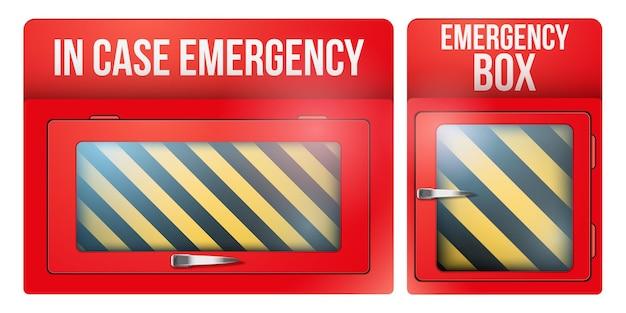 非常用の壊れやすいガラスの場合の空の赤い緊急ボックスのセット。