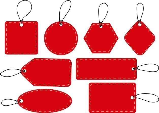 Набор пустых красных тегов векторных этикеток со строками, изолированными на белом фоне для бизнеса или подарков