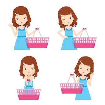 Набор пустых корзин и девушка с различными действиями