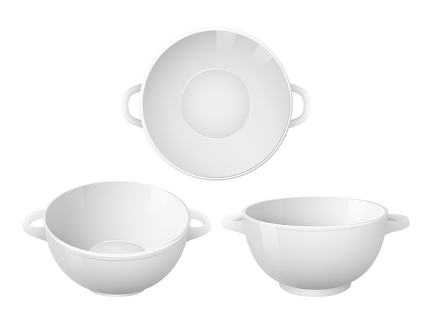 Набор пустых суповых тарелок. реалистичный стиль. изолированные на белом.