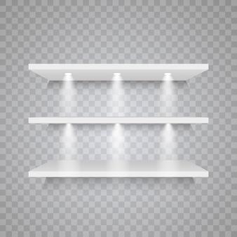 투명 한 배경에 고립 된 빈 흰색 선반 세트. 디자인 요소.