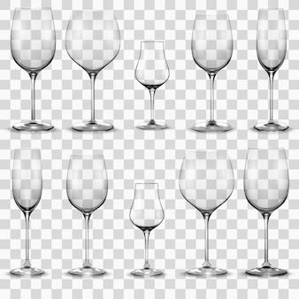 空のワイングラスのセット。ワイングラス