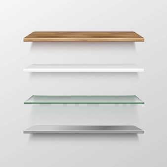 空の木製ガラス金属プラスチック棚棚のセット
