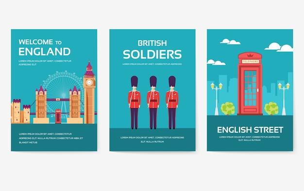 Набор концепции путешествия путешествия орнамент страны англии.
