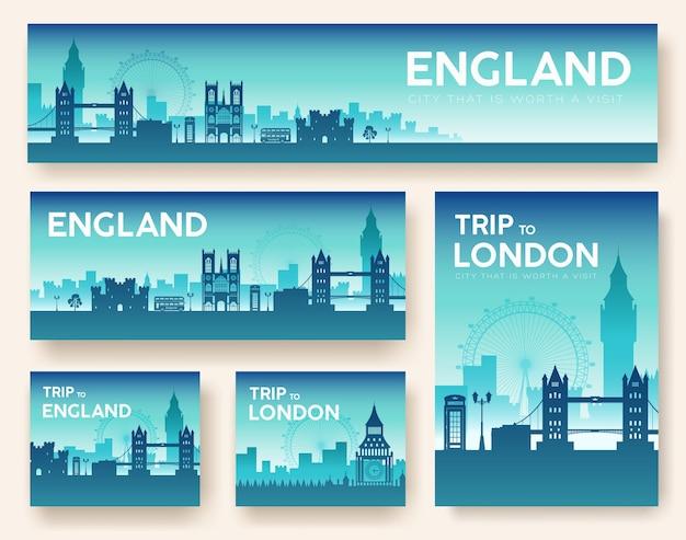 Набор англии пейзаж страны орнамент путешествия тур