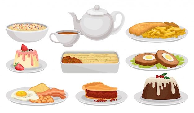 イギリス料理のセットです。おいしい料理、デザート、お茶。イギリス料理。白地にカラフルなイラスト。