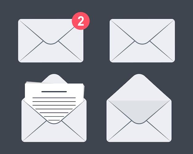 封筒アイコンのセットです。郵便。着信メッセージ、メッセージを開いて読んでください。メールメッセージアイコンのセット