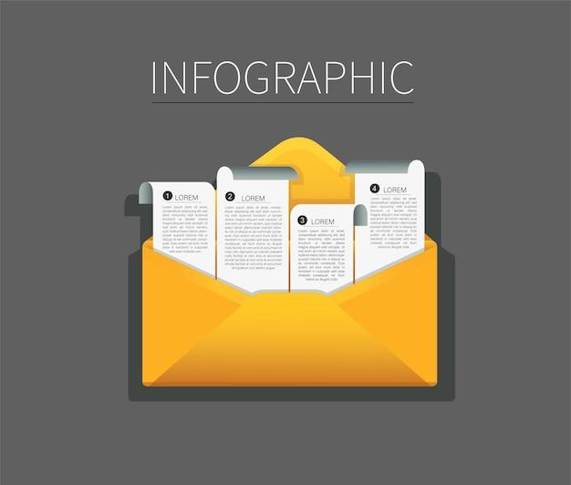 メモ用紙のインフォグラフィックと封筒のセット。メールメッセージの概念