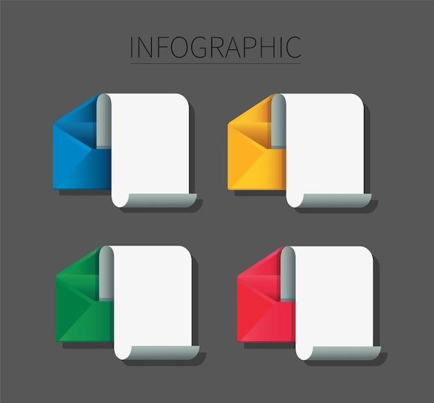 メモ用紙のインフォグラフィックと封筒のセット。