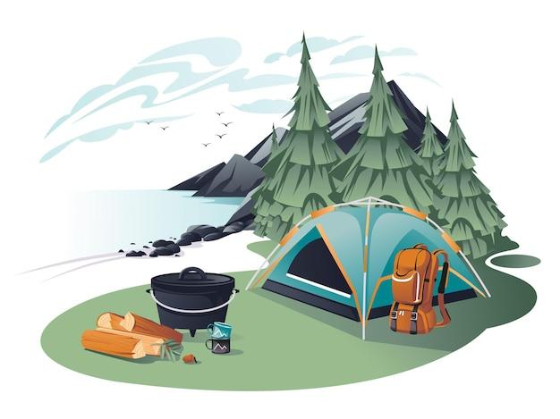 風景の山でキャンプや登山のための機器のセット。バックパック、テント、木、斧、大釜、カップ。漫画