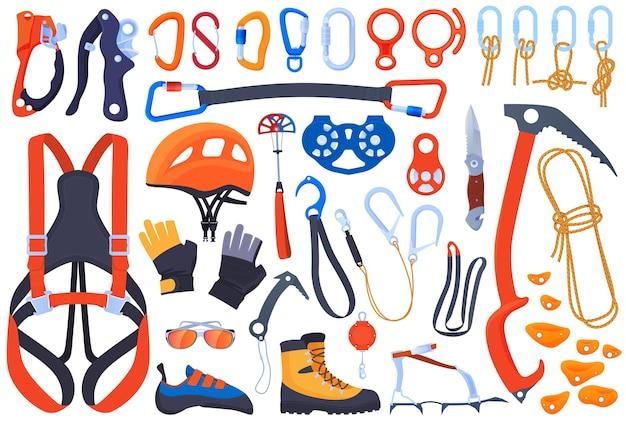 クライミング、クライマーのための機器のセット。保険、カービン銃、ピッケル。ヘルメット、ブーツ、爪、手袋。エクストリームスポーツ。