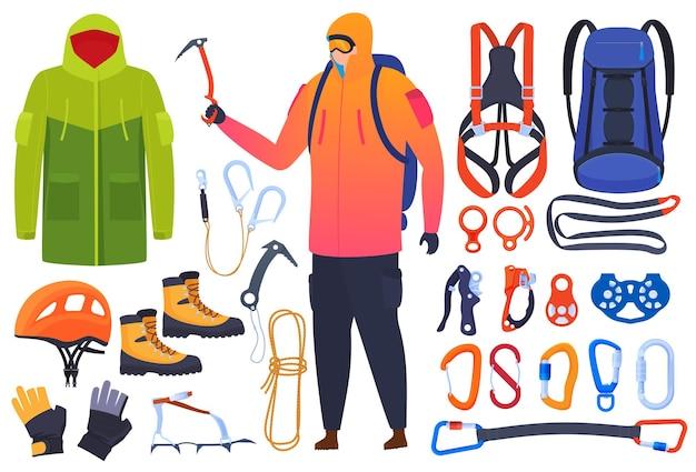 登山、登山者のための機器のセット。保険、カービン銃、ピッケル。ヘルメット、ブーツ、爪、手袋。エクストリームスポーツ。
