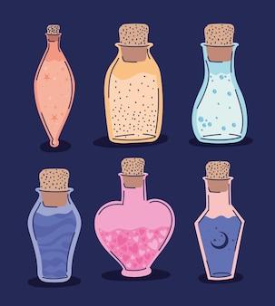 Набор эзотерических зелий на фиолетовом дизайне иллюстрации
