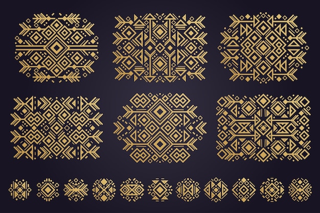 Набор орнаментов этнических ацтеков векторных элементов