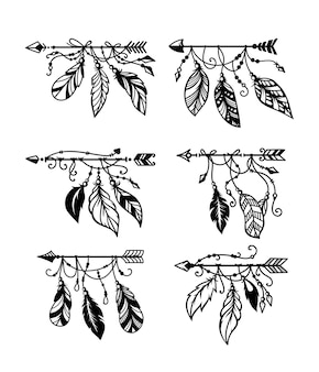 깃털과 민족 boho 화살표의 집합