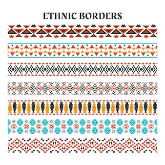 민족 요소 스트립 테두리, 민족 스트립 모티프, 줄무늬가 있는 수제 민족 테두리 세트