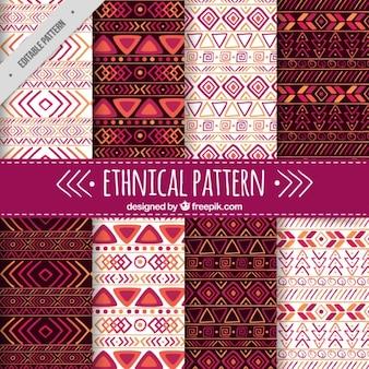 보라색 세부 민족 패턴의 집합