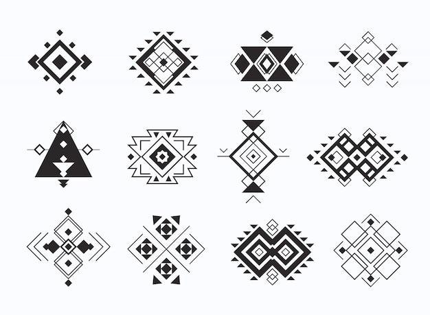 民族部族アステカシンボルのセットです。幾何学的なエスニックな装飾要素のコレクション。