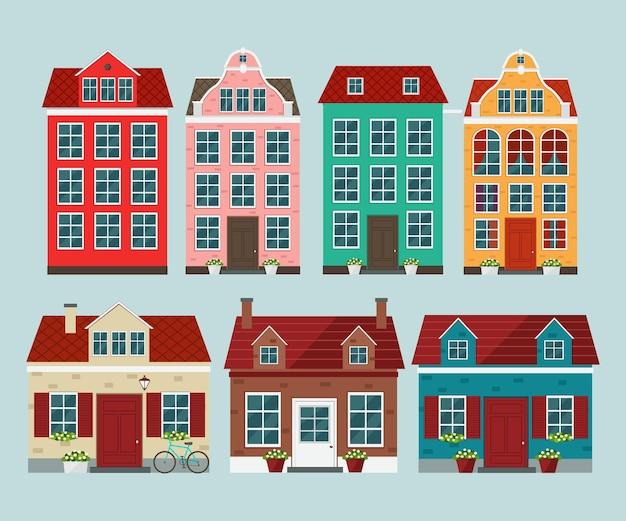 ヨーロッパのカラフルな古い家屋のセット。古いヨーロッパの町。