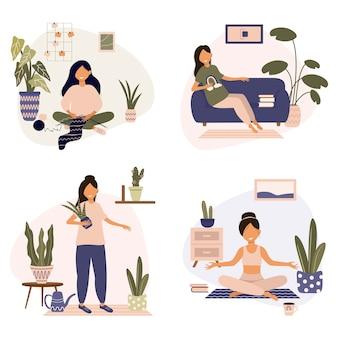 Набор повседневных дел современной домохозяйки. работа, отдых и хобби на уединении.