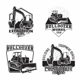 ブルドーザーや建設機械のエンブレムと発掘作業エンブレムデザインのセット