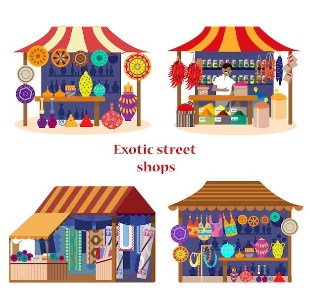 Набор экзотических уличных магазинов на азиатском рынке в плоском мультяшном стиле