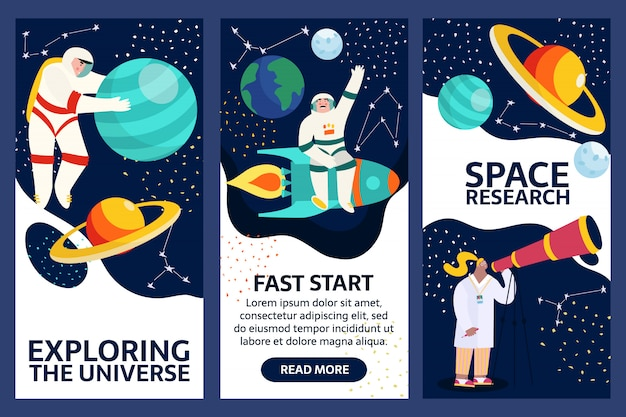 Набор изучения космических баннеров. космонавт в космическом пространстве со звездами, луной, ракетой, астероидами, созвездием на фоне. астронавт выходит из космического корабля, исследующего вселенную и галактику.