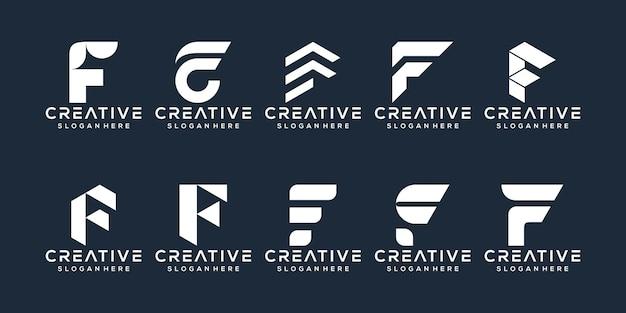 F 문자 로고 디자인 세트