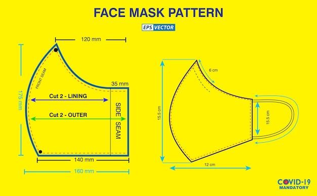 Набор лицевых масок промышленного образца дизайна или выкройки для создания медицинской маски