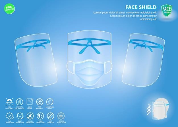 얼굴 방패 의료 보호 또는 휴대용 얼굴 방패 방수 또는 개인 보호 세트 프리미엄 벡터