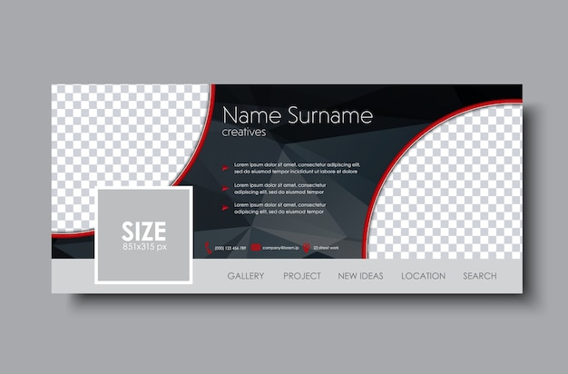 Комплект обложки facebook. шаблон черный с пространством для изображений и многоугольных элементов.