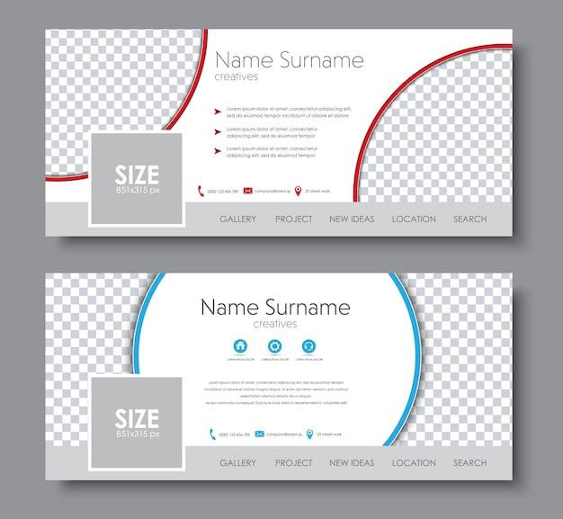 Комплект обложки facebook. шаблон с разными геометрическими формами и местом для фото.