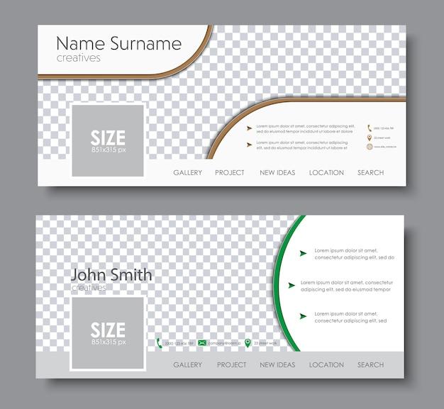 Комплект обложки facebook. шаблон с местом для фото, контактной информацией и кнопками.