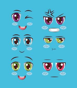 顔のアニメのセット