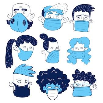 マスクを持つ人々の顔のセット。手描き。