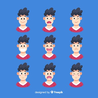 さまざまな感情の表情のセット