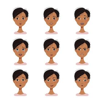 검은 머리를 가진 아프리카 계 미국인 여자의 얼굴 표정 아바타 세트