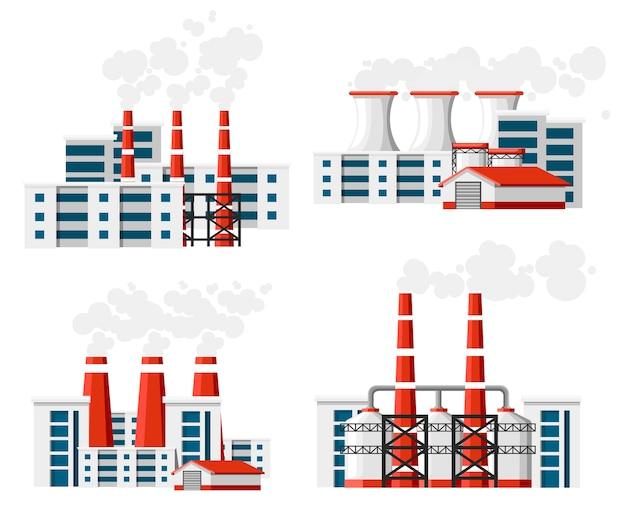 Набор заводов с дымовыми трубами. проблема загрязнения окружающей среды. земляной завод загрязняют углеродным газом. иллюстрация. иллюстрация на белом фоне.