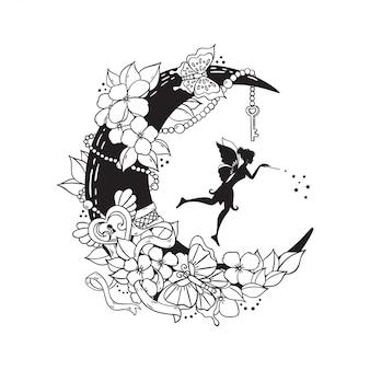妖精と三日月のイラストのセット