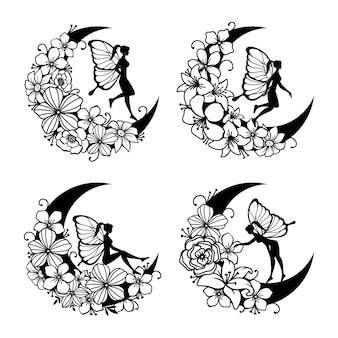 Набор феи и полумесяца иллюстрации