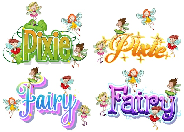 Набор феи и пикси логотипа с маленькими феями на белом фоне