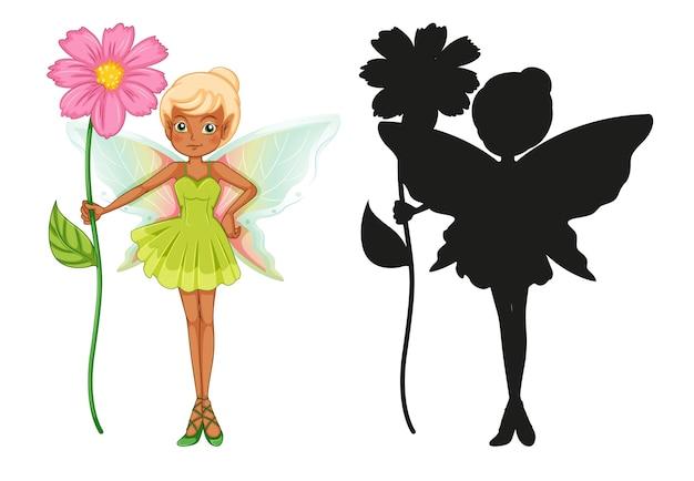 妖精のキャラクターとそのシルエットのセット