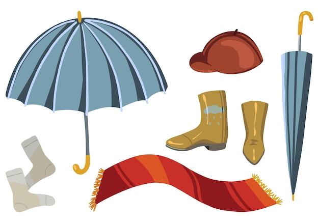 秋のライフスタイルのもののセット。秋のアクセサリー、傘、スカーフ、ゴム長靴、靴下、ベレー帽のベクトルイラスト。白で隔離の漫画色のクリップアート。装飾、ステッカー、デザイン、カード、プリント用