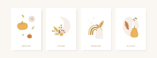 가을 시즌 인사말 카드 및 포스터 세트 프리미엄 벡터
