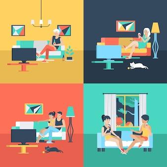 家族のカップルだけのセットは、リビングルームでテレビを見ている孤独な女性の友情。フラットな人々のライフスタイルの状況は、余暇の概念をリラックスします。若い創造的な人間のイラスト集。