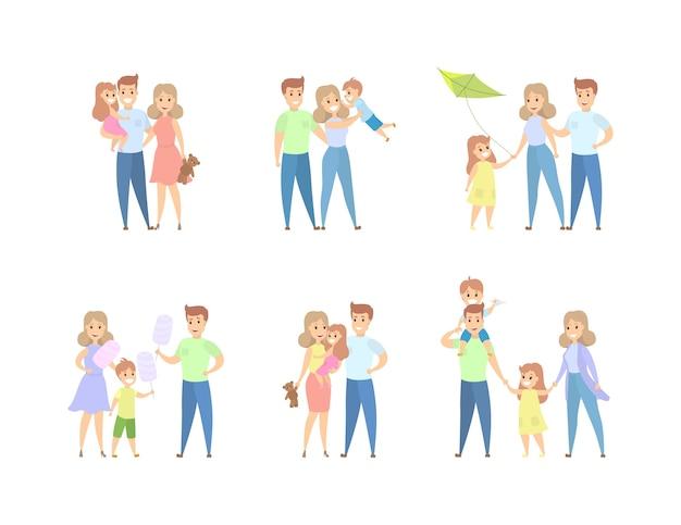 様々なシチュエーションでの家族レジャーのセット。女の子と男の子のママとパパを楽しんでいます。図