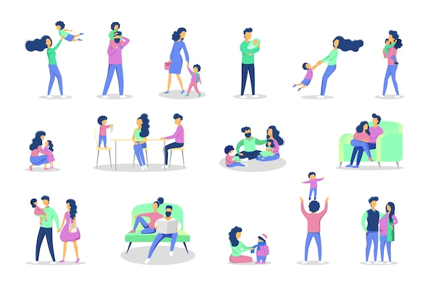 다양한 상황에서 가족 레저 세트. 소녀와 소년 엄마와 아빠와 함께 재미. 삽화