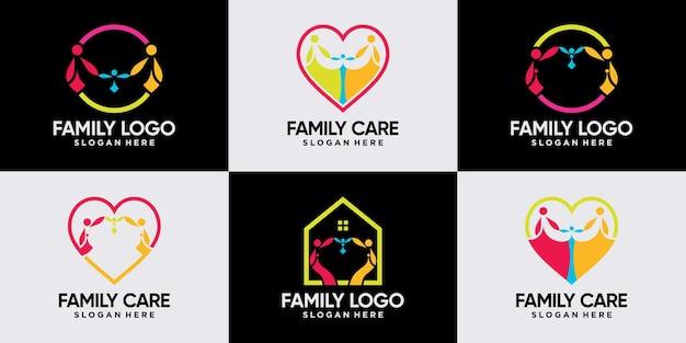Набор семейных логотипов людей вместе с уникальным стилем линии premium векторы